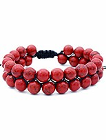 cheap -Men Women 8mm Lava Rock Volcanic Stone Beads Energy Yoga Elastic Natural Agate Frosted Pendant Bracelet Jewelry (Red)