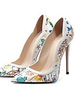 cheap -Women's Wedding Shoes Stiletto Heel Pointed Toe Wedding Daily PU Synthetics White Black