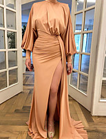 cheap -Sheath / Column Minimalist Elegant Engagement Prom Dress High Neck Long Sleeve Sweep / Brush Train Stretch Satin with Ruched Split 2021