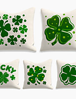 cheap -Saint Patrick's Day Cushion Cover 5PC Linen Soft Decorative Square Throw Pillow Cover Cushion Case Pillowcase for Sofa Bedroom 45 x 45 cm (18 x 18 Inch) Superior Quality Machine Washable