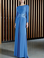 cheap -Sheath / Column Beautiful Back Sexy Wedding Guest Formal Evening Dress Jewel Neck Long Sleeve Floor Length Chiffon with Pleats 2021