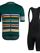 cheap -Men's Short Sleeve Cycling Jersey with Bib Shorts Elastane Dark Green Bike Sports Clothing Apparel