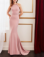 cheap -Mermaid / Trumpet Minimalist Sexy Engagement Formal Evening Dress Jewel Neck Sleeveless Sweep / Brush Train Stretch Fabric with Sleek 2021