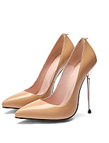 cheap -Women's Wedding Shoes Stiletto Heel Pointed Toe Wedding Daily Nappa Leather Synthetics Almond Black