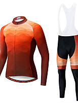 cheap -Men's Long Sleeve Cycling Jersey with Tights Winter Elastane Forest Green Violet Orange Bike Sports Clothing Apparel