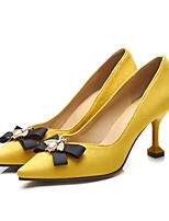 cheap -Women's Wedding Shoes Flare Heel Pointed Toe Wedding Daily PU Synthetics Black Yellow