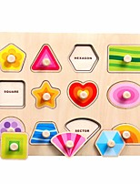 cheap -kids wooden peg puzzles toys creative multi shape design puzzle board wooden knob jigsaw board toys kids early education toys for kids baby toddler 1pc