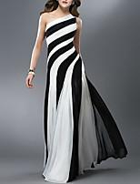 cheap -Sheath / Column Color Block Sexy Wedding Guest Formal Evening Dress One Shoulder Sleeveless Floor Length Chiffon with Pleats 2021
