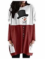 cheap -Women Christmas Tops Snowman Printed Long Sleeve Tunic Sweatshirt Pockets Pullover Jumper Tops Oversized Winter Print Lady Cute Santa Claus Dress