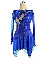 cheap -Figure Skating Dress Women's Girls' Ice Skating Dress Blue Spandex High Elasticity Training Competition Skating Wear Crystal / Rhinestone Long Sleeve Ice Skating Figure Skating / Kids