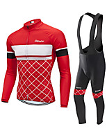 cheap -Men's Long Sleeve Cycling Jersey with Bib Tights Winter Elastane Red Bike Sports Clothing Apparel