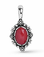 cheap -Sterling Silver Red Coral Gemstone Oval Floral Pendant Enhancer