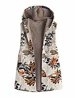 cheap -✫Vintage Oversize Hooded Gilet-Women's Floral Print Plus Velvet Warm Outwear Pockets Waistcoat Coat Vest Orange