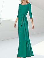 cheap -Sheath / Column Minimalist Elegant Engagement Formal Evening Dress Jewel Neck 3/4 Length Sleeve Floor Length Silk with Sash / Ribbon 2020