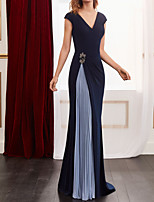 cheap -Sheath / Column Color Block Elegant Wedding Guest Formal Evening Dress V Neck Sleeveless Floor Length Spandex Chiffon with Pleats Beading 2020