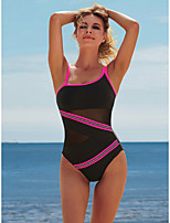 cheap -Women's New Fashion Sexy Monokini Swimsuit Color Block Letter Tummy Control Open Back Mesh Normal Strap Swimwear Bathing Suits Black / One Piece / Party