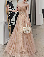 cheap -A-Line Glittering Floral Wedding Guest Formal Evening Dress Off Shoulder Sleeveless Floor Length Tulle with Pleats Sequin Appliques 2021