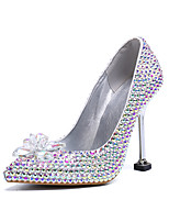 cheap -Women's Wedding Shoes Stiletto Heel Pointed Toe Vintage Sexy Minimalism Wedding Party & Evening PU Rhinestone Crystal Sparkling Glitter Solid Colored Color Block Rainbow