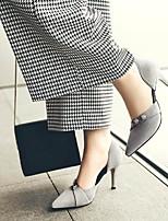 cheap -Women's Wedding Shoes Stiletto Heel Pointed Toe Wedding Daily PU Synthetics Black Light Grey
