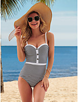 cheap -Women's New Elegant Vacation Monokini Swimsuit Color Block Stripe Tummy Control Slim Print Normal Strap Swimwear Bathing Suits White / One Piece / Party