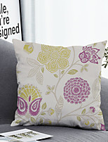 cheap -1 pcs Polyester Pillow Cover & Insert, Botanical Floral Simple Classic Square Zipper Polyester Traditional Classic