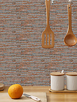 cheap -imitation retro ceramic tile kitchen sticker waterproof and oilproof brick red stripe flake self-adhesive decorative wall sticker 15cm*30cm*6pcs