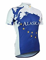 cheap -21Grams Men's Short Sleeve Cycling Jersey Blue Bike Top Mountain Bike MTB Road Bike Cycling Breathable Sports Clothing Apparel / Stretchy / Athletic