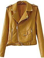 cheap -Women's Biker Style Zipper Leather Hooded Faux Leather Jackets Short Fitted Outwear Yellow L