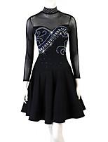 cheap -Latin Dance Dress Pleats Crystals / Rhinestones Women's Training Performance Long Sleeve Natural Chinlon