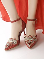 cheap -Women's Wedding Shoes Stiletto Heel Pointed Toe Wedding Party & Evening PU Synthetics Red Gold Silver