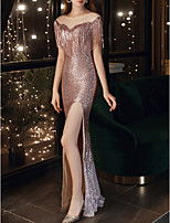cheap -Mermaid / Trumpet Sparkle Sexy Wedding Guest Formal Evening Dress Illusion Neck Half Sleeve Floor Length Sequined with Sequin Tassel Split 2020
