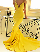 cheap -Mermaid / Trumpet Beautiful Back Sexy Prom Formal Evening Dress V Neck Sleeveless Court Train Stretch Fabric with Sleek 2020