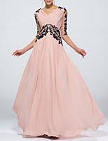 cheap -Sheath / Column Beautiful Back Empire Wedding Guest Formal Evening Dress V Neck Half Sleeve Floor Length Chiffon with Appliques 2021 / Illusion Sleeve