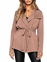 cheap -women cardigan coat, autumn winter fashion solid color lapel long sleeve belted jacket for office lady girls party daily life travel outwear shopping khaki l