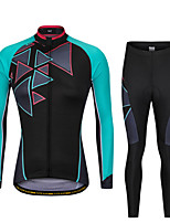 cheap -Men's Long Sleeve Cycling Jersey with Bib Tights Winter Elastane Black / Blue Pink / Black Bike Sports Clothing Apparel