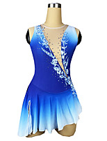 cheap -Figure Skating Dress Women's Girls' Ice Skating Dress Blue Spandex High Elasticity Training Competition Skating Wear Patchwork Crystal / Rhinestone Sleeveless Ice Skating Figure Skating / Kids