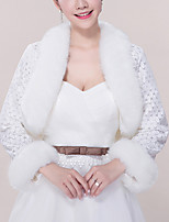 cheap -Long Sleeve Coats / Jackets / Shawls Faux Fur Wedding / Party / Evening Shawl & Wrap / Women's Wrap With Solid