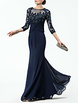 cheap -Mermaid / Trumpet Sparkle Elegant Wedding Guest Formal Evening Dress Illusion Neck Half Sleeve Floor Length Chiffon with Crystals Appliques 2021