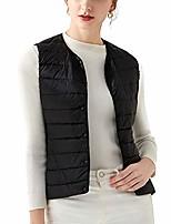 cheap -Women's Casual Lightweight Round Neck Down Vest Quilted Button Donw Puffer Vest (Black, M)