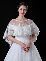 cheap -Half Sleeve Shawls / Capes Tulle Wedding / Party / Evening Shawl & Wrap / Women's Wrap With Lace