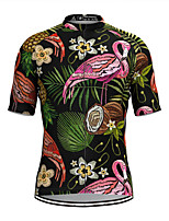 cheap -Men's Short Sleeve Cycling Jersey Black Flamingo Floral Botanical Bike Top Mountain Bike MTB Road Bike Cycling Breathable Sports Clothing Apparel / Stretchy / Athletic