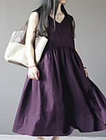 cheap -Women's A-Line Dress Midi Dress Sleeveless Solid Color Ruched Pocket Patchwork Spring Summer Vintage Chinoiserie Linen White Purple Dusty Blue M L XL XXL 3XL 4XL 5XL