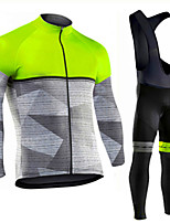 cheap -Men's Long Sleeve Cycling Jersey with Bib Tights Winter Elastane Black / Yellow Red Green Bike Sports Clothing Apparel