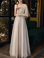 cheap -A-Line Empire Elegant Wedding Guest Formal Evening Dress One Shoulder Half Sleeve Floor Length Tulle with Bow(s) Pleats Crystals 2021