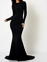 cheap -Mermaid / Trumpet Beautiful Back Sexy Engagement Formal Evening Dress Jewel Neck Long Sleeve Court Train Spandex with Sleek 2020