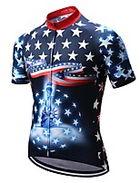 cheap -Men's Short Sleeve Cycling Jersey Dark Blue Bike Top Mountain Bike MTB Road Bike Cycling Breathable Sports Clothing Apparel / Stretchy / Athletic