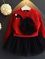 cheap -Kids Little Girls' Dress Cartoon Mesh Print Red Knee-length Long Sleeve Basic Cute Dresses Regular Fit