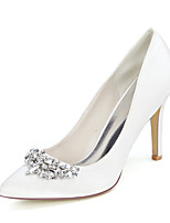 cheap -Women's Wedding Shoes Stiletto Heel Pointed Toe Sexy Wedding Party & Evening Satin Rhinestone Solid Colored White Black Purple