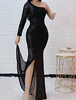 cheap -Mermaid / Trumpet Sparkle Sexy Engagement Formal Evening Dress One Shoulder Long Sleeve Floor Length Sequined with Sequin Split 2021