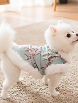 cheap -Dog Cat Coat Jacket cheongsam Flower Chinoiserie Cute Casual / Daily Spring Festival Winter Dog Clothes Puppy Clothes Dog Outfits Breathable Red Green Costume for Girl and Boy Dog Flannel Fabric